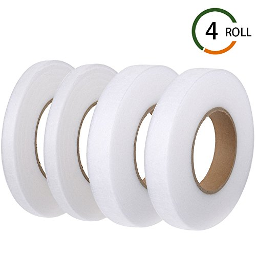 FJSM 4 Rolls 70 Yards Fabric Iron Fusing Tape White Double Sided Hem Seam Tape No Sew Fusible Hemming Tape 10mm 20mm for Clothes Curtain Pants Jeans Skirts ()