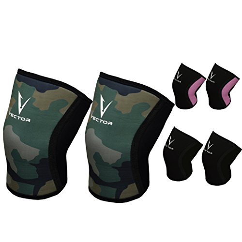 Vector Sports Unisex 5mm Neoprene Knee Compression Sleeve Support For Running Weightlifting Injury Recovery And Protection Knee Brace (Pair) (Camouflage, - Vector Man Sport