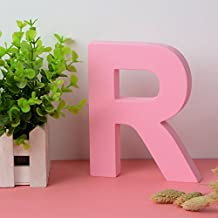 """Wooden Hanging Wall Letters """"R"""" - Pink Decorative Wall Letter for Children's Nursery Baby's Room, Baby Name and Girls Bedroom Décor"""
