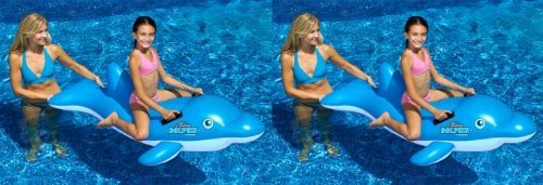 Swimline 90453 Swimming Pool Inflatable Dolphin Stable Ride-On Float Toys, Pair by Swimline