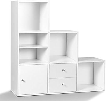 IDMarket – Mueble de escalera (3 niveles, imitación a madera de haya, con puerta y cajones): Amazon.es: Bricolaje y herramientas