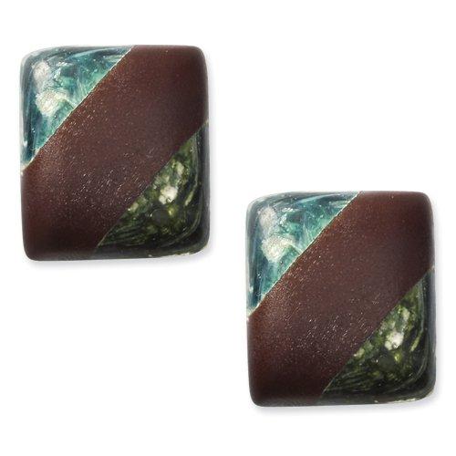 Tapak Wood & Green/Blue Broken Capiz 1.25 Square Clip-on Earrings