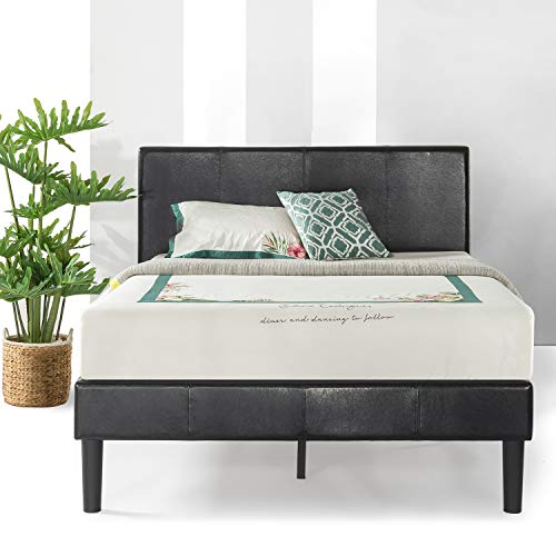 Best Price Mattress Agra Grand Upholstered Faux Leather Platform Beds with Headboard & Wooden Slats (No (No Box Spring Needed), King, Black