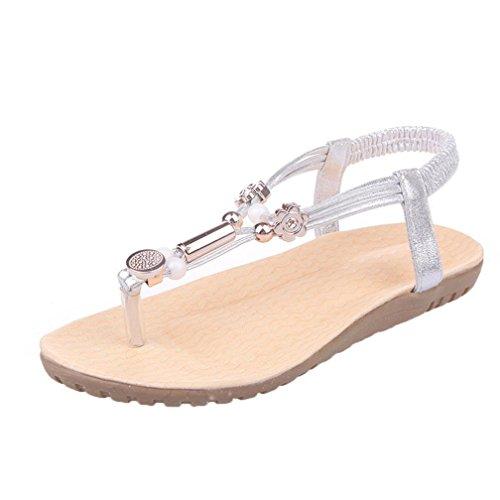 Bohemia Chanclas Sandalias de Mujer, FAMILIZO Correa de Tobillo Zapatos Planos De Mujer Zapatos De Peep-Toe De Las Sandalias Del Ocio Moldeadas Plata