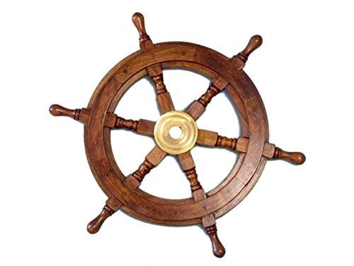 Hampton Nautical  Deluxe Class Wood and Brass Decorative Ship Wheel 15
