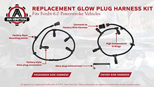 ford powerstroke 6 0 glow plug harness kit compatible replacement- includes  right, left harness,