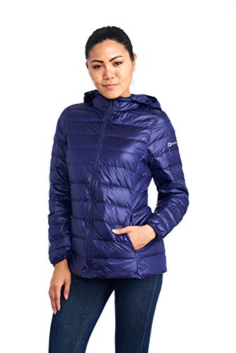 (alpine swiss Eva Womens Down Jacket Hooded Puffer Coat Packable Insulation & Light NVY)