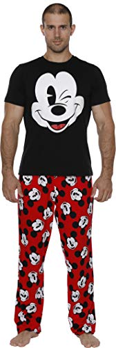 Disney Men's Classic Mickey Mouse Pajama Tee and Lounge Pant Set, Black-red, Size -