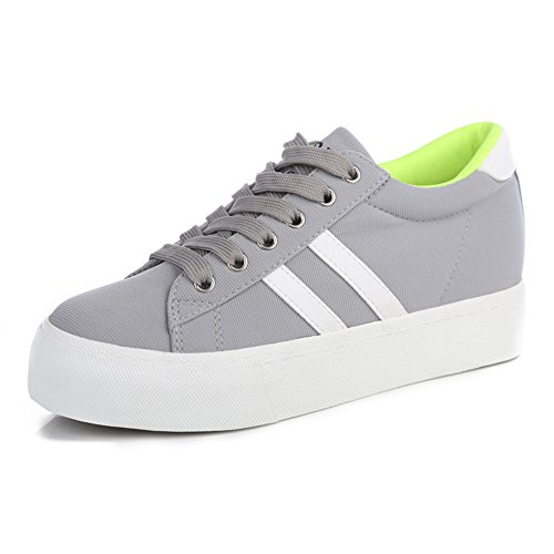 Summerwhisper Womens Casual Low Top Platform Plimsoll Lace up Canvas Shoes Sneakers Gray vr02R6hfv