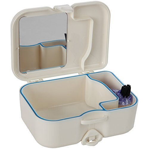 Denture Travel Case with Built in Mirror and Brush - Sturdy, Compact and Leak-Proof Travel Case Ideal for Dental Appliances and Mouth Guards - by Home-X (Denture Premium Bath)