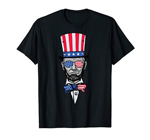Abe Lincoln American Patriotic Flag Hat Sunglasses Tie BZR T-Shirt