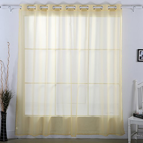 Deconovo Decorative Sheer Voile Curtain Wide Width Curtains Delicate Sheer Curtain Grommet Curtain for Office 100W x 84L Inch Yellow Cream 1 Panel