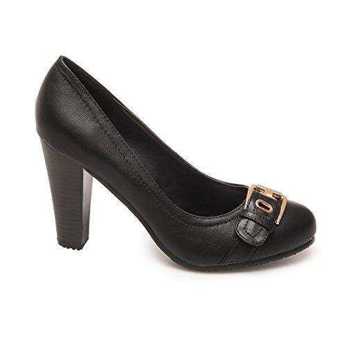 La Modeuse, piel sintética con diseño de zapato de tacón grueso de imitación a madera Negro - negro
