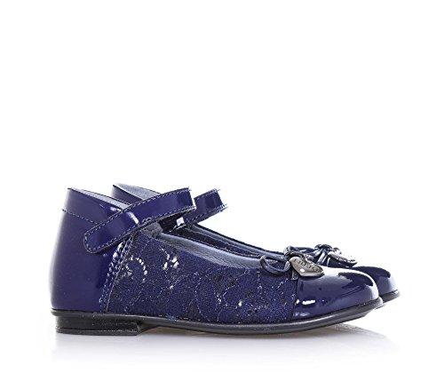 LIU JO - Blaue Ballerina aus Lackleder und Spitze, mit Klettverschluss, kleine Blume auf der Vorderseite, Herzchen aus Metall mit Logo, Mädchen