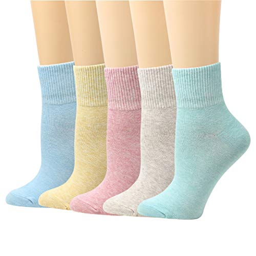 LIVEBEAR 4 Pairs Women's Made In Korea Cute Novelty Lightweight Solid Color Casual Cotton Crew Socks -