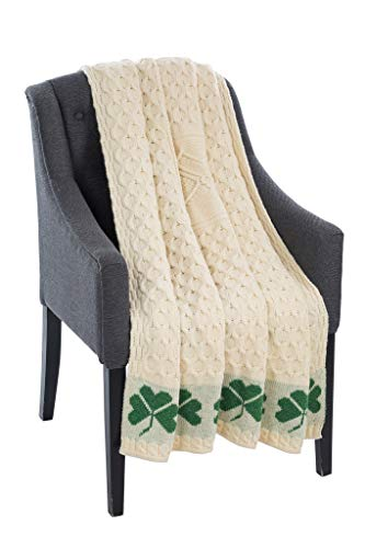 "SAOL 100% Merino Wool Shamrock Cable Honeycomb Knit Aran Couch Throw Blanket 58"" x 40"" (147 x 102 cm)"
