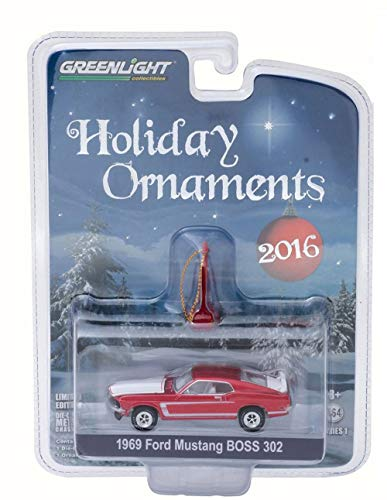 Greenlight 1969 Ford Mustang BOSS 302 Ornament, Candy Apple Red 40010C - 1/64 Scale Diecast Model Toy Car