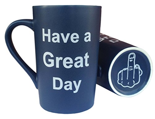 MAUAG Funny Christmas Gifts - Ceramic Coffee Mug Have a Great Day with Middle Finger on the Bottom Funny Porcelain Cup Dark Blue, Best Father's Day and Mother's Day Gag Gift, 13Oz