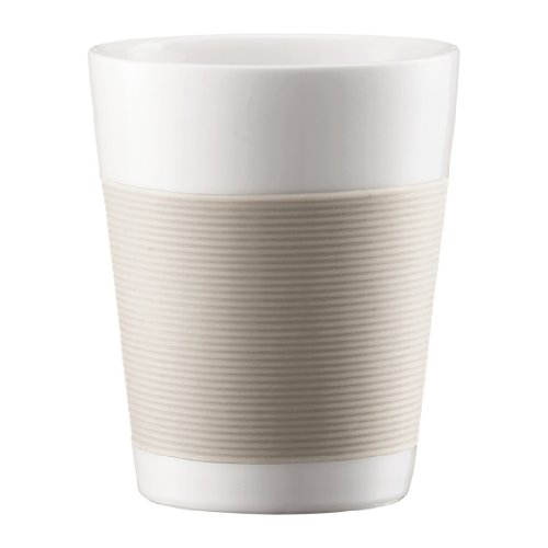 - Bodum Canteen Porcelain Double Wall Medium Tumbler with Silicone Grip, Off White, Set of 2