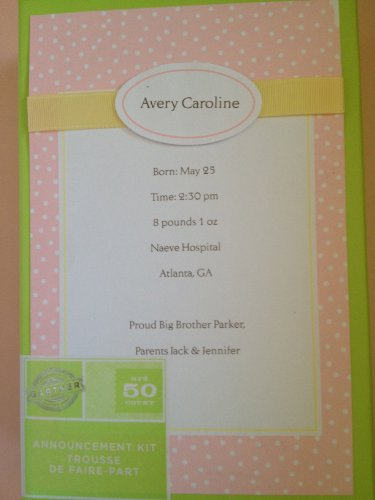 Gartner Baby Girl Pink Announcement Kit (50 ct)
