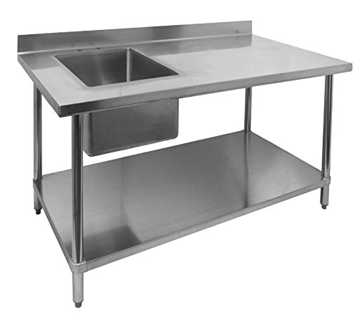 ACE Stainless Steel Commercial Prep. Table w/ 4 Rear Upturn & Left Side Sink Bowl, 30W x 60L x 35H, ETL Certified, WT-PS3060L