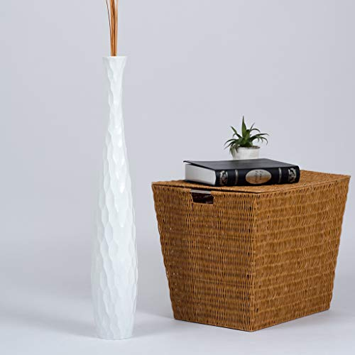 Leewadee Tall Big Floor Standing Vase For Home Decor, 5x30 inches, Wood, white (White Vase Large Extra Floor)