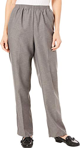 Pants Casual Misses (Alfred Dunner Misses Classics Pull-On Pants, 10 Short, GREY)