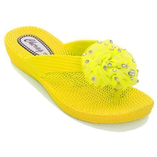 FANTASIA BOUTIQUE ® Ladies Diamante Flower Corsage Flip Flop Low Heel Women's Comfort Sandals Yellow CSALCT
