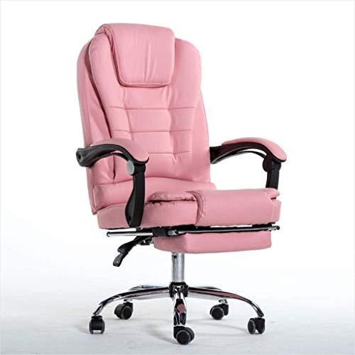 DBL hem datorstol, fritid arbetsstol, läderchef stol, kontorsstol, spelstol skrivbordsstolar (storlek: Brun-med fotstöd)