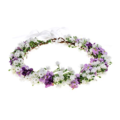 Floral Fall Artificial Baby Breath Flower Halo Wedding Crown Pink Bridal Headpiece Greenery Crown HC-24 (White Purple Flower)