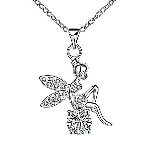 Rhinestone Pendant Gift Tinkerbell Jewelry Fairy Angel Crystal Wings Necklace