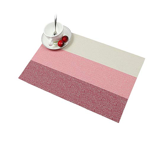 famibay Place mats, Heat Insulation PVC Placemats Stain-Resistant Crossweave Woven Table Mats for Kitchen Set of 4 (4, Horizontal Striped Pink) (Pink Mat Kitchen)