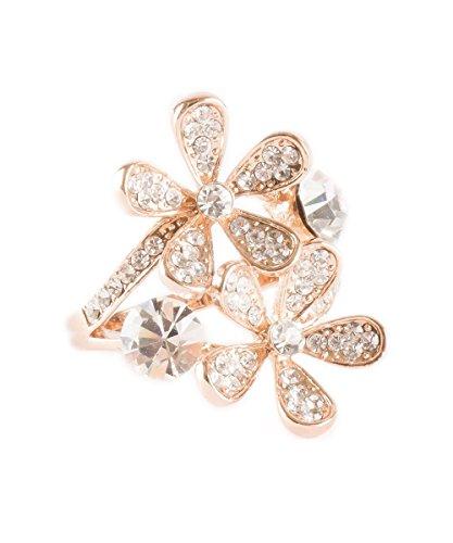 Rhinestone Flower Fashion Ring (Twin Flowers Gold Plated Double Daisy Rhinestone Ring Fashion Jewelry (9))