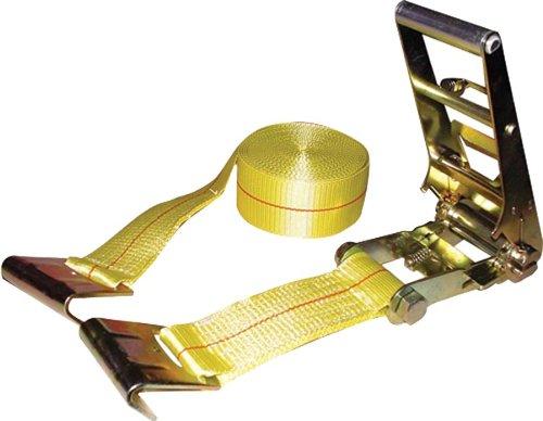 Erickson 58514 Yellow 3'' x 30' Ratchet Strap with Flat Hooks