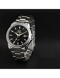 Wishar Korean men watch stainless steel waterproof dual scale ten degrees life watches calendar Black