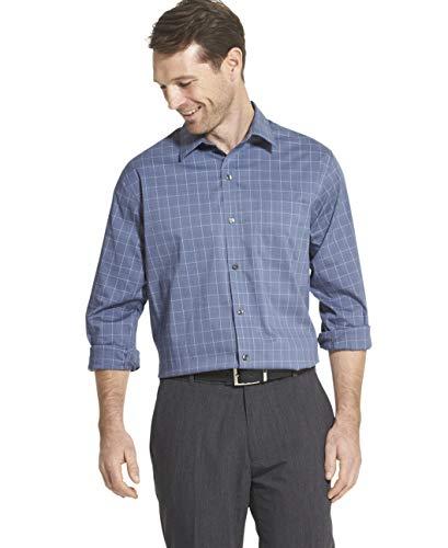 (Van Heusen Men's Traveler Stretch Long Sleeve Button Down Blue/White/Purple Shirt, Underground, Large)