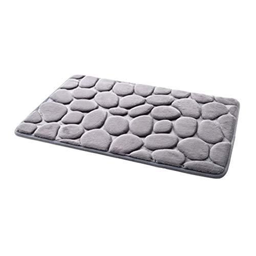 40x60cm Non-Slip 3D Stone Floor Mat Carpet Shower Floor Pebble Flannel Bathroom Bath Rug Absorption Rug Foam Kitchen Door Mat- Large Bathroom Rugs- Bathroom Rug Gray- Kitchen Floor Mat