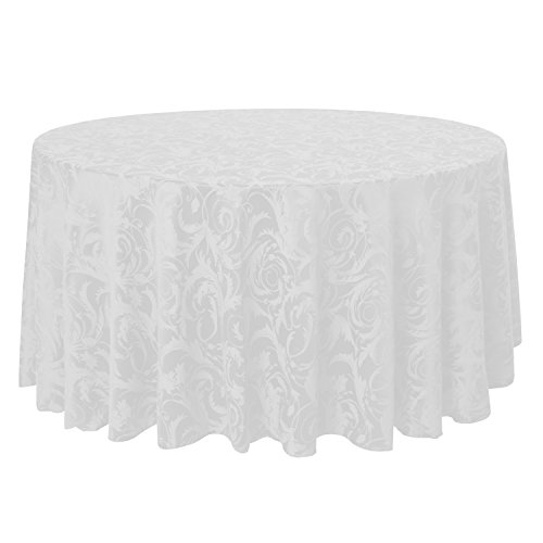 Ultimate Textile -2 Pack- Damask Melrose 120-Inch Round Tablecloth - Floral Leaf Scroll Jacquard Design, White (Damask Tablecloth 120 Round)
