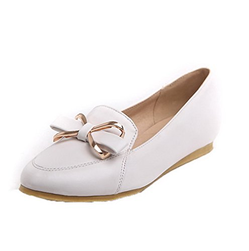 Pull Heel No Toe WeiPoot On Solid Women's Shoes White Pumps Closed Pointed PU UxZX1