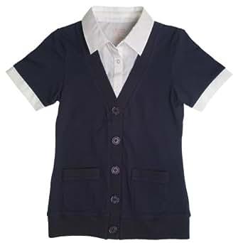 French Toast School Uniform Girls Short Sleeve Cardigan Blouse 2-Fer, Navy, 4