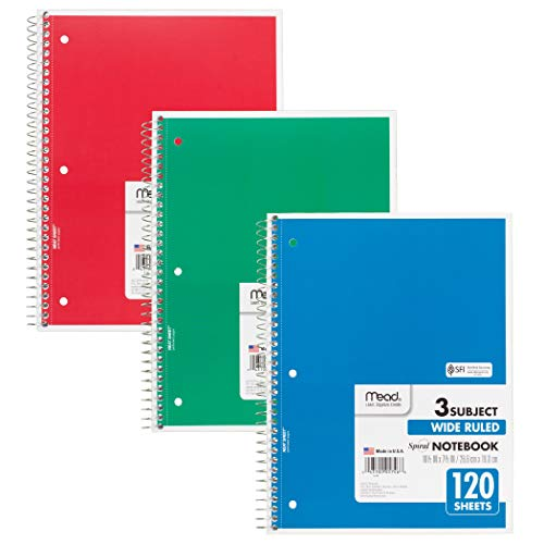 Mead MEA05746BN Spiral Bound Notebook, Wide Rule, 3 Subject, Assorted Colors, Pack of - Rule Assorted