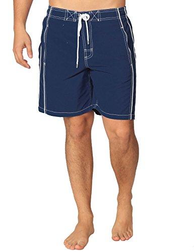 Premium Men's Navy Blue Swim Trunks with UPF 50+ Quick Dry Technology & 4 Way Stretch (Medium, Navy) ()