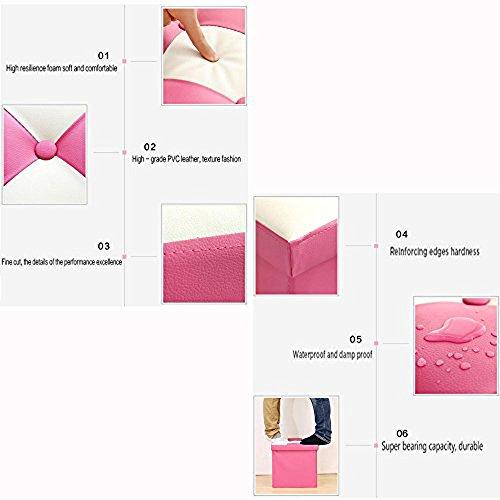 Geartist GOO2 Foldable Leather Organizer Ottoman Storage Cube Stool Seat Foot Rest (15