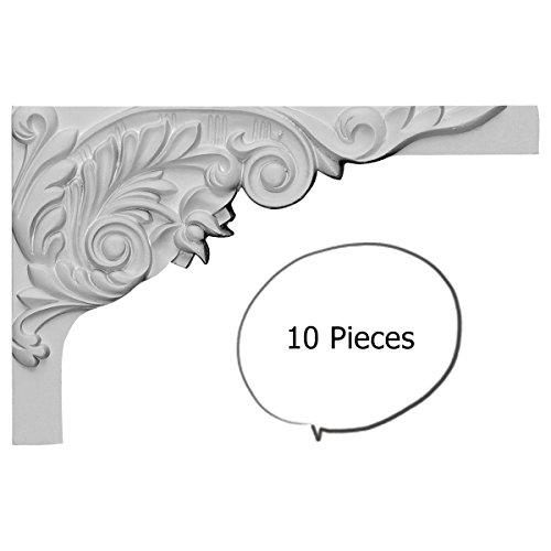 10 Pieces Springtime Stair Brackets 11 Inch RIGHT White Polyurethane M2003R by WI Millwork (Trim Victorian Wood)
