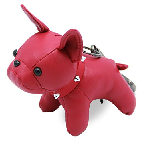 French Bulldog Leather Keychain Bag Charm, Car Key Chain Gift for Women Kids ()