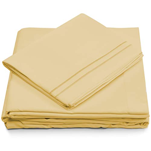 Queen Size Bed Sheets - Pastel Yellow Luxury Sheet Set - Deep Pocket - Super Soft Hotel Bedding - Cool & Wrinkle Free - 1 Fitted, 1 Flat, 2 Pillow - Flat Sheet Queen Yellow