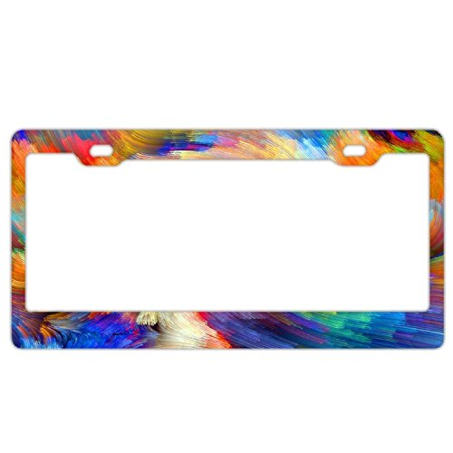 YEX Abstract Colorful camo Whirlpool License Plate Frame Car Tag Frame Auto License Plate Holder 12