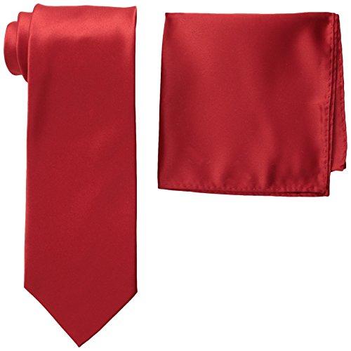 Stacy Adams Men's Satin Solid Tie Set, Fire Red, One (Adam Satin)