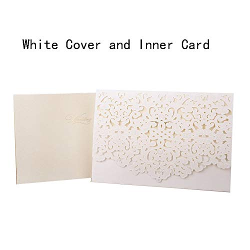 1pcs Gold Red White Laser Cut Luxury Flora Wedding Invitations Card Elegant Lace Favor Print Envelopes Wedding Party Decoration,Light Yellow