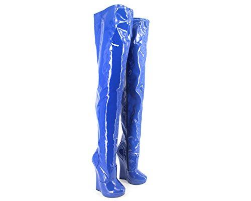 "Wonderheel 7"" wedge sexy fétiche bottes cuir verni plateforme cuissarde crotch boots"